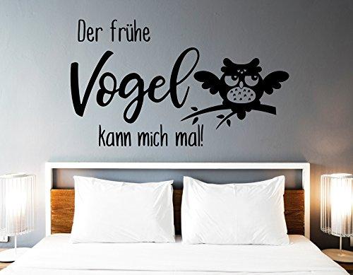 tjapalo® s-pkm362 Wandtattoo Schlafzimmer modern Wandtattoo Schlafzimmer Spruch der frühe Vogel kann mich mal (B100 x H58 cm)