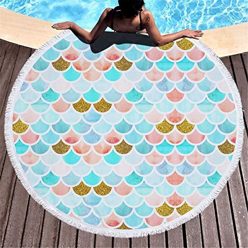 Wancooy - Toalla de playa redonda, báscula de pescado minimalista, apta para natación, playa, piscina, picnic, manta de playa (A,60 pulgadas)