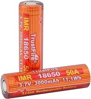 TrustFire IMR 18650 50A 3000mAh Li-ion 充電池,フラットトップ リチウムイオン充電池 電池透明ケース付き (18650 3000mAh 50A 2本)