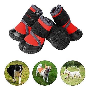 PETLOFT Chaussure pour Chien, 4pcs Antidérapante Bottes Chien avec Sangle de Fixation Réglable Dog Boots pour Petits Moyenne Grand Chiens, Facile à Mettre Protection Coussinet Chien (XXL, Rouge)