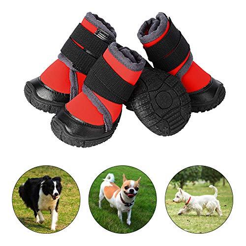 PETLOFT Botas para Perros, 4pcs Antideslizante Botas Perro con Correa de Cierre Adjustable para Perros Pequeños Medianos Grandes, Fácil de Poner Perro Protector Pata (S, Rojo)