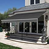 Best Choice Products 98x80in Retractable Awning, Aluminum Polyester Sun Shade Cover for Patio, Balcony w/UV & Water-Resistant Fabric and Crank Handle - Gray
