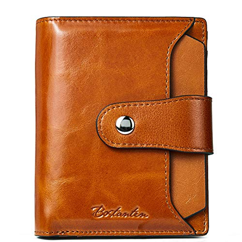 BOSTANTEN Women Leather Wallet RFID Blocking Small Bifold Zipper Pocket Wallet Card Case Purse with ID Window Brown