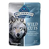 Blue Buffalo Wilderness Trail Toppers Wild Cuts High Protein Natural Wet Dog Food, Chunky Chicken Bites in Hearty Gravy 3-oz pouches (Pack of 24)