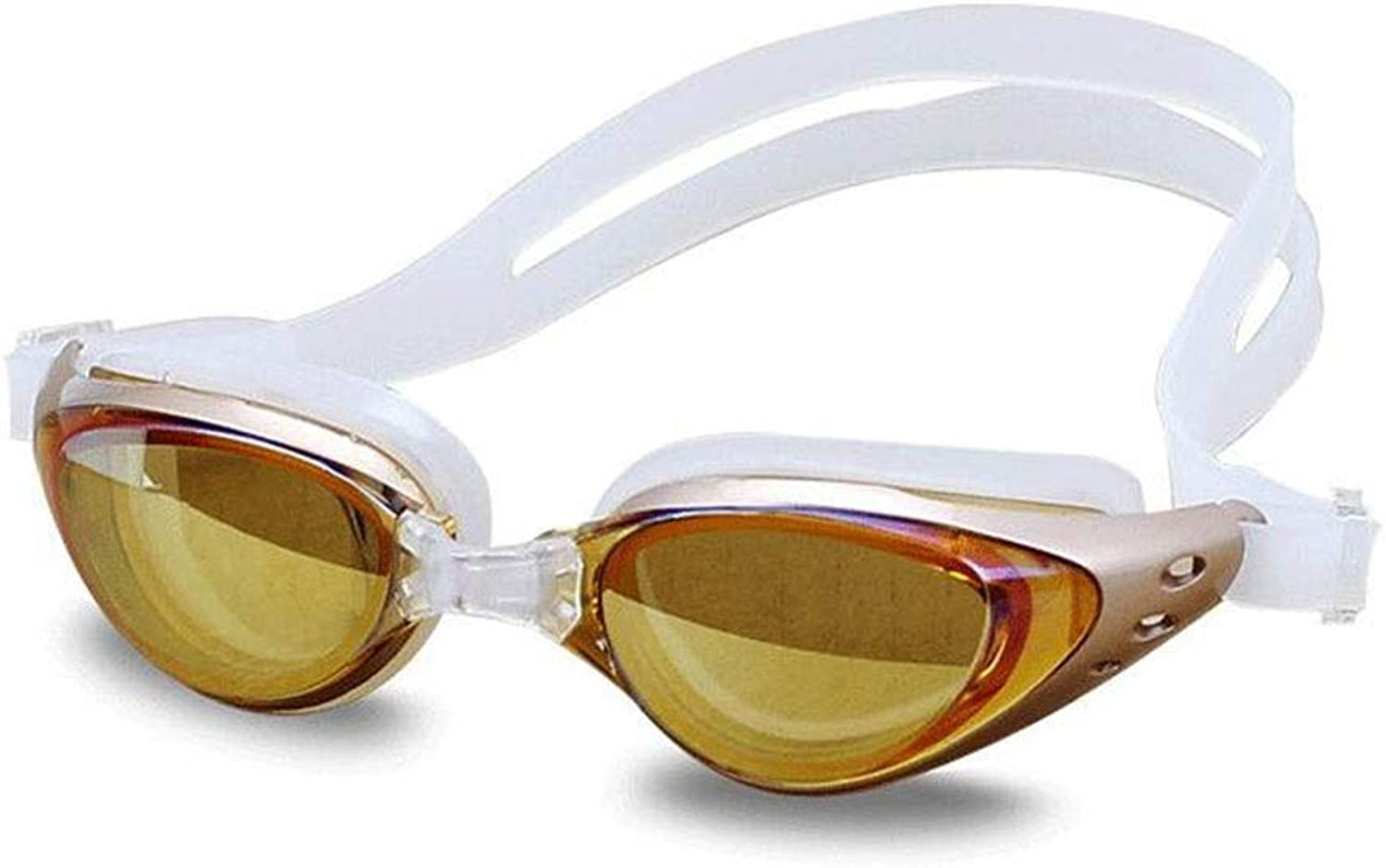 Swimming Goggles Plating Film Waterproof Anti-Fog Goggles Unisex (color   gold)