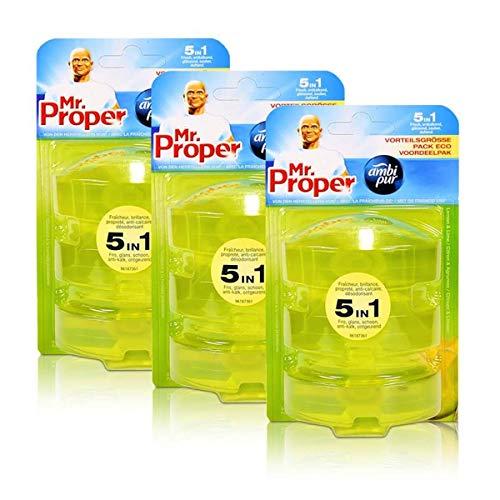3x Mr.Proper Nachfüller Ambi Pur 5in1 Lemon & Lime WC-Stein flüssig, 3x55 ml
