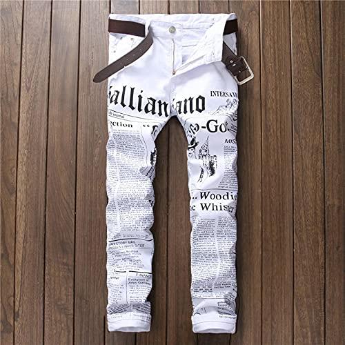 ShFhhwrl Vaqueros de Moda clásica Hombres Jeans Denim Blanco Periódico Estampado Ripped Casual Men Slim...