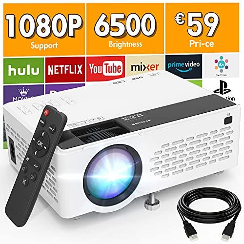 Proiettore V08 Supporta 1080P Full HD, Mini Proiettore da 6500 Lux, Proiettore Portatile Compatibile con Chiavetta TV HDMI VGA USB TF AV, Videoproiettore per Home Cinema & Film All aperto.