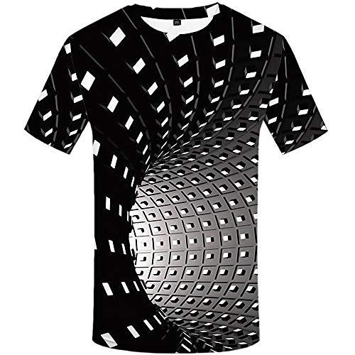 KYKU Men Psychedelic Shirt 3D Optical Illusion T-Shirt Black and White Geometry Swirl (Medium, Psychedelic Shirt)