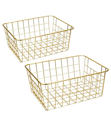 Wire Baskets, Gold 2 Pack Wire Basket, Organizing Storage Crafts Decor Kitchen -