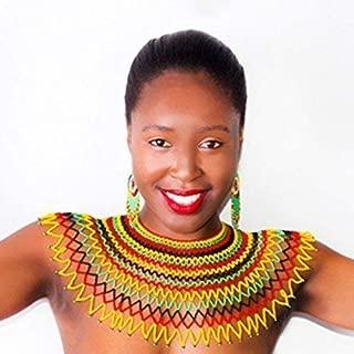 Traditional African Zulu wedding bib necklace beaded, oversized necklace, statement piece – Rasta colours