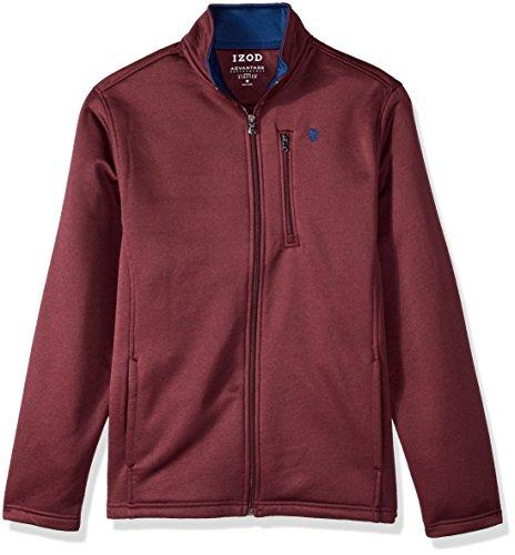 IZOD Men's Premium Essentials Spectator Full Zip Fleece Jacket, Fig Heather, Large