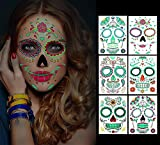Halloween Temporary Face Tattoos, 6 sheets Glow in the Dark Tattoos Sugar Skull Stickers Day of...
