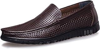 [モリケイ] 超軽量! カジュアルシューズ スリッポン 本革 パンチングレザー メッシュシューズ リゾート 大きいサイズ 23.0cmー28.5cm ワイズ3E ソフト ドライビングシューズ モカシン 革靴 春夏 ブラウン