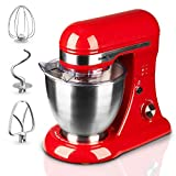 Geek Chef GSM45R Stainless Steel 4.8 Quart Bowl 12 Speeds Kitchen Countertop Baking Food Stand Mixer with Beater Paddle, Dough Hook, and Whisk, Red