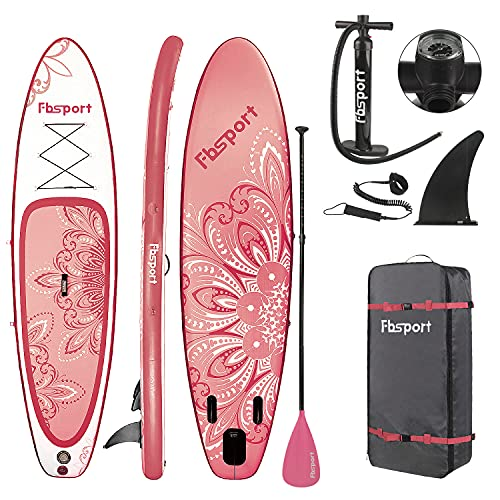 FBSPORT 10.6' Premium Inflatable Stand Up Paddle Board, Yoga Board with Durable SUP Accessories & Carry Bag.Wide Stance, Surf Control, Non-Slip Deck, Leash, Paddle and Pump for Youth & Adult