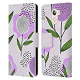 Official Haroulita Purple Doodles Leather Book Wallet Case