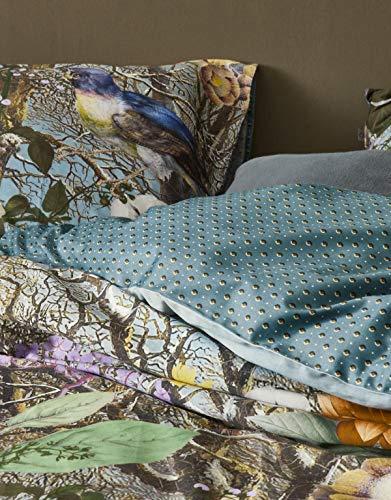 ESSENZA Zirvehome Iris - Juego de cama (funda nórdica de 135 x 200 cm y funda de almohada de 80 x 80 cm), diseño de flores