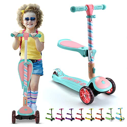S SKIDEE Scooter for Kids with Foldable and Removable Seat – Adjustable Height 3 LED Light Wheels USA Brand 3 Wheels Kick Scooter for Girls amp Boys 212 Years Old  Y200 Marshmallow Scooter
