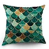 HL HLPPC Mermaid Throw Pillow Case Sequin Teal Mermaid Scales Cotton Linen Cushion Cover 18 x 18 Inches Standard Square Decorative Pillow Cover for Sofa and Bed One Side Print