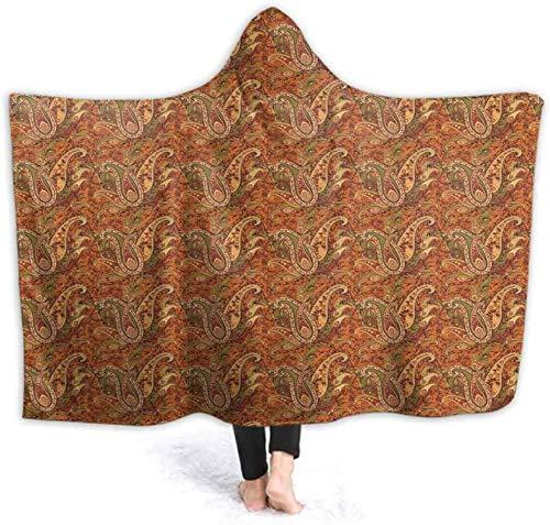 Bernice Winifred Übergroßes Hoodie-Decken-Sweatshirt Nahtloses orangefarbenes Paisley-Design Superweicher Warmer Pullover für Erwachsene Männer Frauen Teenager Kinder130x150cm (51.2x59.1 \'\')