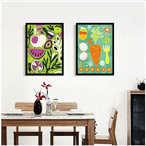 chthsx vlammend met kleuren van vele groente en fruit canvas schilderij kunstdruk poster voor woonkamer eetkamer decoratie afbeelding 40x60x2Pcscm geen lijst