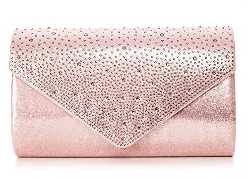 VINCENT PEREZ Damen Clutch Abendtasche Unterarmtasche Umhängetasche mit Strass-Steinen und abnehmbarer Kette in den Farben Silber Gold Altrosa (120 cm), 22 x 13 x 5,5 cm (B x H x T), Farbe:Altrosa