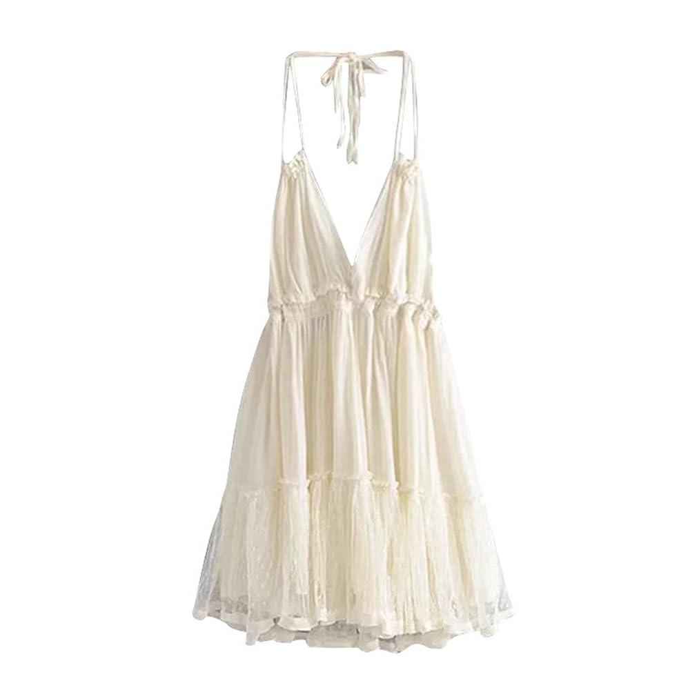 Summer Dresses for Women Halter Deep V Neck Sexy Mini Short Dresses Spaghetti Strap Backless Flowy Sundress