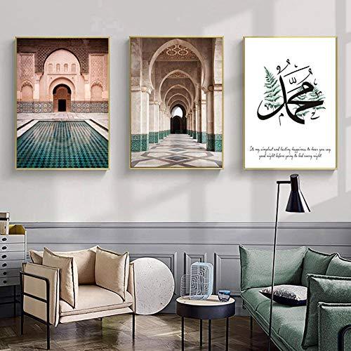 LLXHGMarokkanische Bogen Leinwand Malerei Islamisches Zitat Wandkunst Poster Hassan Moschee Sabr Bismillah Druck Allah Muslim Dekor Bild-60X80Cmx3 Kein Rahmen