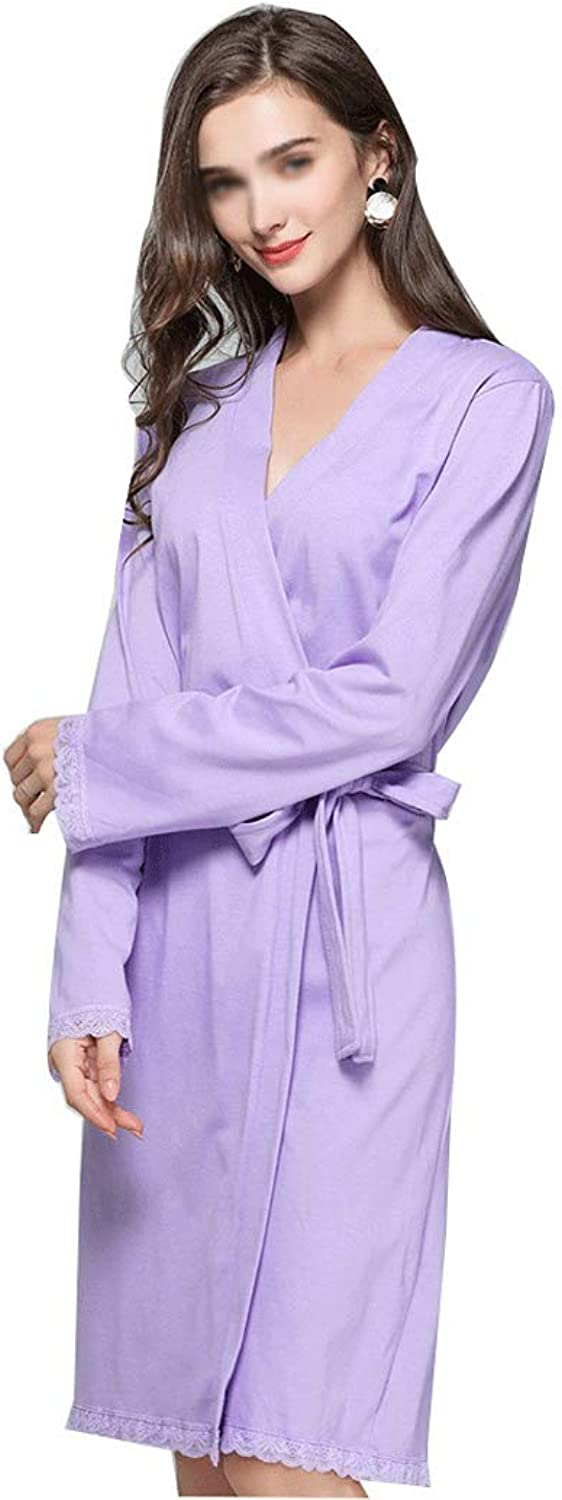 GJFeng Women's Pajamas Europe and The United States Spring and Autumn Sexy Lace Robe Soft Cotton Lace Robe in The Long Size (color   Purple, Size   XL)