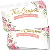 """200 Bulk Blank Coupon Cards - Floral Pink Fillable Gift Certificates 2"""" x 3.5"""" Discount Card Coupons - Make Your Own Custom Vouchers to Redeem for Small Business, Salon, Spa, Birthday and More"""