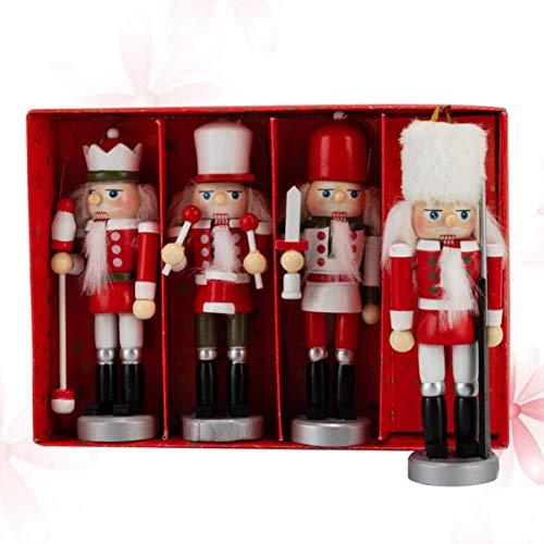 VOSAREA 4Pcs 7 Zoll Holz Nussknacker Ornamente Set Puppenspielzeug Holzfiguren Weihnachten Wohnkultur