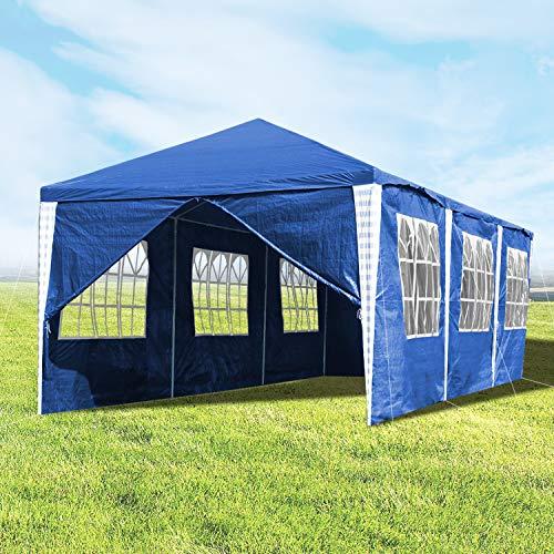 Hengda 3x9m Pabellón Impermeables Carpa para Fiesta Azul Cenadores para Jardin con 8 Partes Laterales para el Mercado del jardín de Bodas