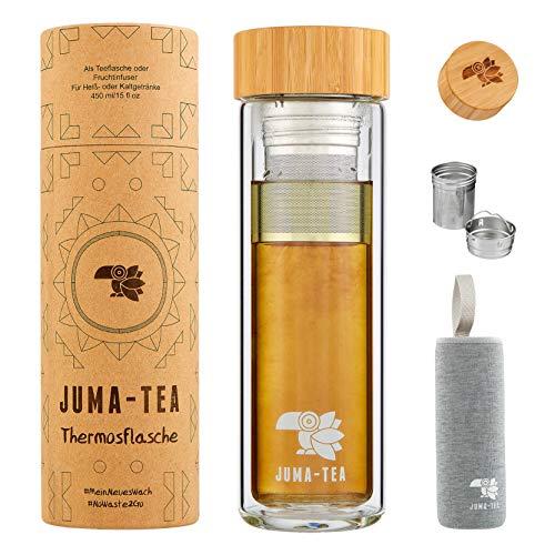 JUMA-TEA Guayusa - Termo de cristal con tapa de bambú, colador de té integrado y funda protectora de tela