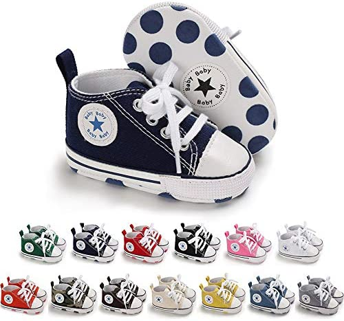 Save Beautiful Baby Girls Boys Canvas Sneakers Soft Sole High Top Ankle Infant First Walkers product image