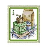 Kits de Bordado de Punto de Cruz Estampado Molinillo de Cafe 11CT Gama Completa de Kit de Inicio de Bordado DIY Niños Adultos Decoración De la Familia Regalo 16X20 Pulgadas