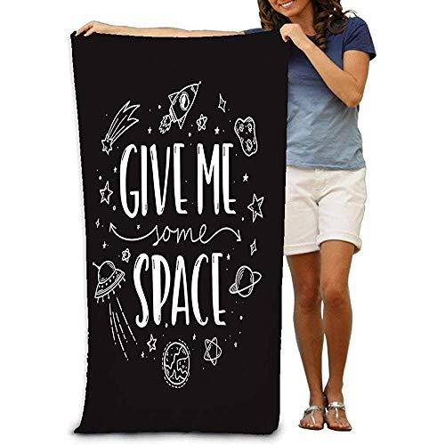 Yocmre Beach Handdoek Space Thema Doodle Slogan Space Thema Doodle Slogan geef me wat ruimte Trendy Monochrome hand getrokken