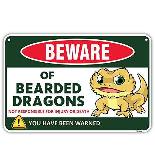Venicor Bearded Dragons Sign - 8x12 Inches - Aluminum - Bearded Dragon Tank Accessories - Bearded Dragon Cage Decor Leash Clothes Hammock Hat Shirt Wall Art Hideout Toy Substrate Plush Gifts Stuff