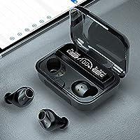 M16タッチ制御無線イヤホン、Bluetooth 5.1 Imear組み込みノイズキャンセリングTWSステレオイヤホンLEDデジタル電気ディスプレイ(ブラック) Enjoyyouselves (Color : Black)