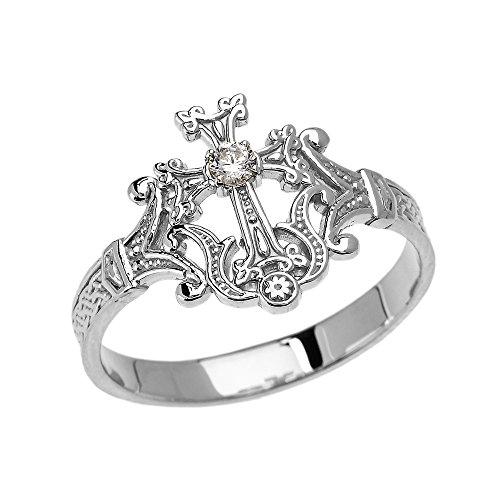 Damen Ring 9 Karat Weißgold Solitär Diamant Armenisch Kreuz Elegant