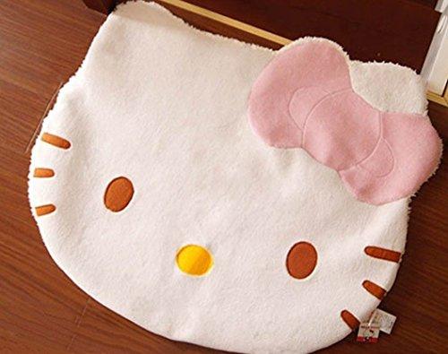 Bestfashion Lovely Big Head Hello Kitty Fuzzy Floor Cushion Mat Pad Bedroom Decoration Footcloth Rug 1 PC White OneSize, Multicolor