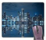 Knseva Chicago Skyline Scene at Night Mouse Pad, Sleeping City Dramatic Urban Resting Popular American Lake Landscape Mouse Pads