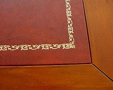 Arteferretto Bureau marqueté avec Cuir véritable