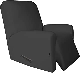 Recliner Stretch Sofa Slipcover,Sofa Cover Furniture Protector Couch Micro Fiber Super Soft Sturdy with Elastic Bottom Pets,Kids,Children,Dog,Cat(Recliner,Dark Gray
