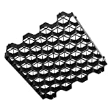 Ministry of Warehouse Grass and Gravel Pavers 1.9' Depth Black 4 PCS Ground Grid Permeable
