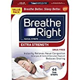 Breathe Right Extra Strength Tan Nasal Strips, Nasal Congestion Relief due to Colds & Allergies, Reduces Nasal Snoring caused by Nasal Congestion, Drug-Free, 44 count