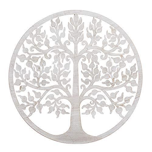 Mural árbol de la Vida exótico en óxido Beige, de Metal, de Ø 60 cm - LOLAhome