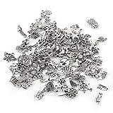 100 piezas de abalorios de plata tibetana con diseño mixto, accesorios para hacer manualidades