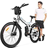 ANCHEER Bicicleta Electrica Plegable, Bicicletas Plegables Adulto 26 Pulgadas, E-Bike de Montaña, Motor de 350 W, Batería de 36V / 8Ah, 21 Engranaje de Velocidad, Frenos de Disco Hidráulico Shimano
