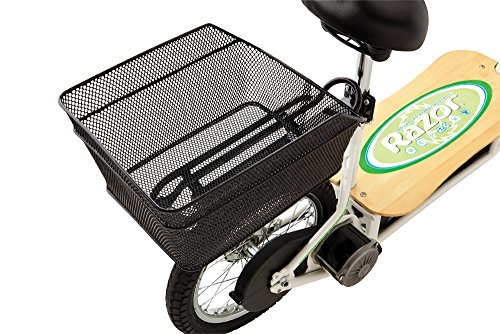 Razor EcoSmart Metro Electric Scooter For Adults - 500W High Torque Motor, Up to 18MPH, 16' Air Filled Tires, Rear Wheel Drive, Height Adjustable Seat and Detachable Luggage Basket, Bamboo Deck ,White ,50 X 13.25 X 23-Inch - 13114501